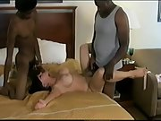 Interracial horny wife and two blacks busty milf threesome sex