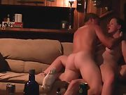 Wife double penetration orgasm on sofa