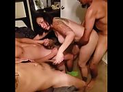 Hot 45 year old Girlfriend loved her first multiple man experience