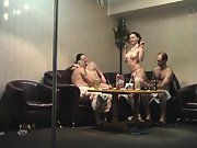 Sharing sexual partners at a pole dancing clubs private room