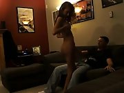 Wife dances nude for hubby and friend and then has sex with both of them